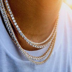 """Mens CZ Diamond Tennis Chain 18"""" 22"""" 24"""""""